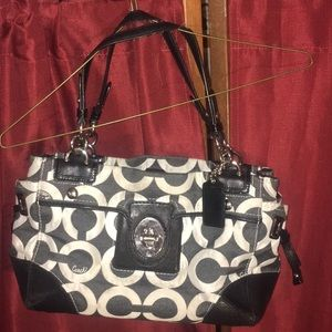 Medium Cloth & Leather Coach Bag